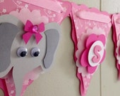 Girl Elephant Baby Shower Decoration. Girl Elephant Baby Banner. Pink and Gray. Made to Order