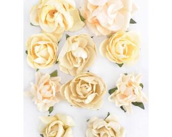Paper Blooms; Cream Paper Flowers by Kaisercraft - Set of 10 - Buttercream