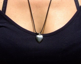 Leather necklace with metal heart pendant charm