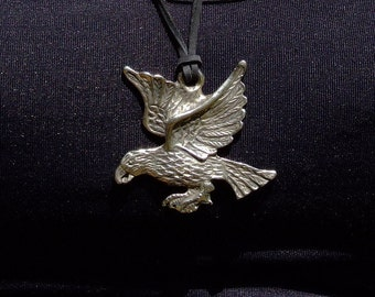 Leather necklace with metal eagle pendant charm