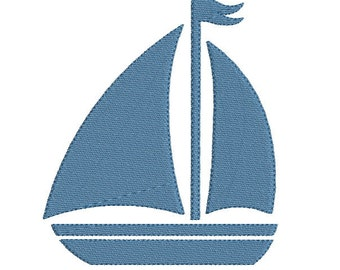 Embroidery design machine silhouette sailboat instant download