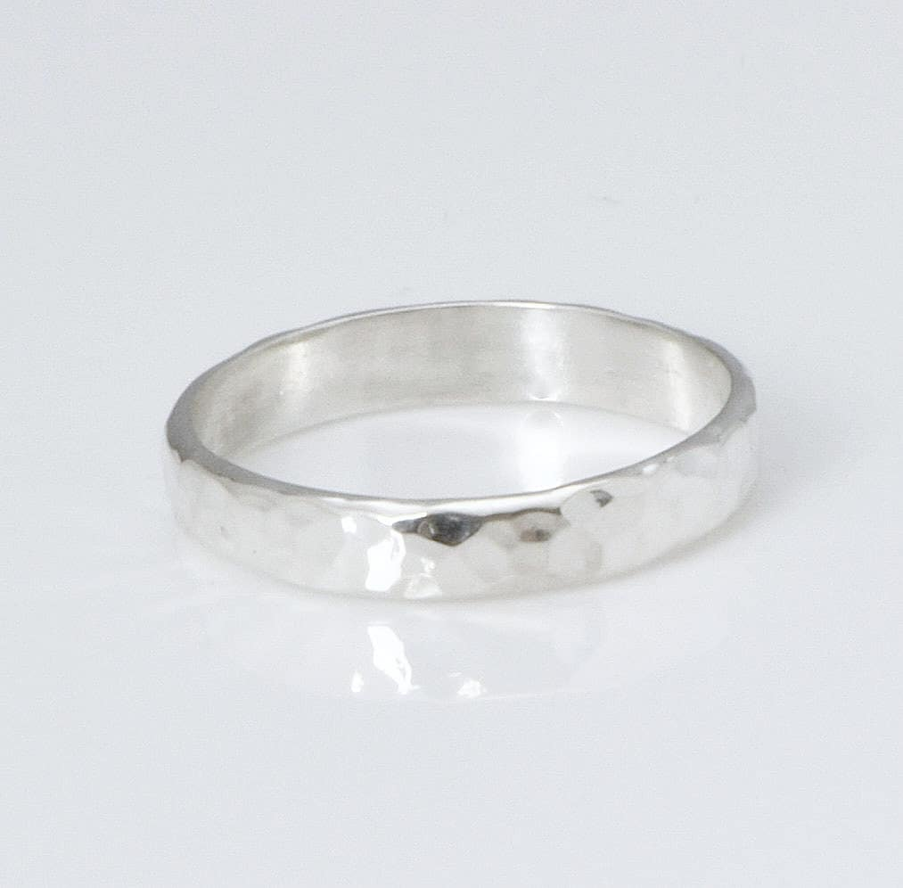 hammered silver band silver ring engraved ring band
