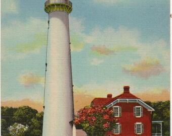 Linen Postcard, St. Simons Island, Georgia, Lighthouse, ca 1940