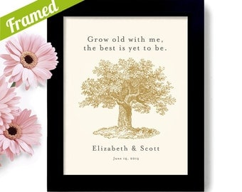 Engagement Gift Personalized Unique Wedding Gift for Couples Tree Framed Art Print