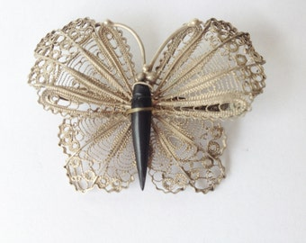 vintage filigree silver butterfly brooch, butterfly accessories, vintage costume jewelry,