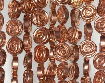 10mm Rose Gold Hematite Gemstone Rose Flower Carved 10mm Loose Beads 16 inch Full Strand (90185600-842)