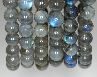 7-8mm Beauty Labradorite Gemstone Grade AA Round Loose Beads 7 inch Half Strand (90142792-834)