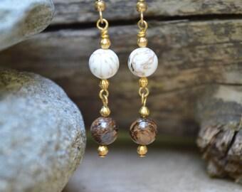 White Turquoise & Bronzite Earrings