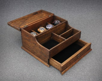 Personalized Rustic  Men's Valet and Watch box with Drawer - Holds 4 watches