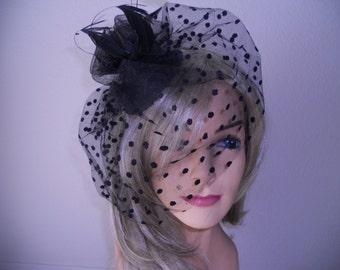 Black veil fascinator derby hat hair sinamay feather fascinator