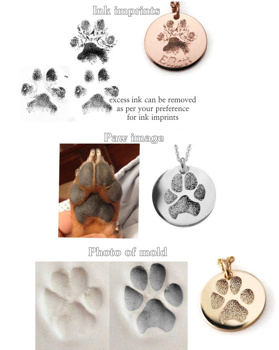 Pet Memorial Jewelry Actual Paw Print In Sterling Silver