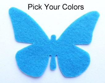 Felt Butterflies Shapes. 10 pieces of a SINGLE color. Party Supply, DIY Wedding