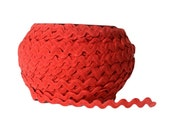"Red RicRac. Red Ric Rac Trim. 1/2"" Red Ric Rac. Scalloped Red Trim. Red Embellishmnent. Wavy Trim. 5 YARDS"