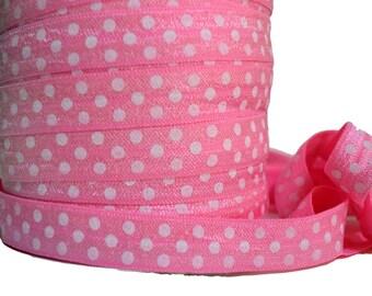 "Pink Polka Dot Fold Over Elastic, 5/8"". Polka Dot FOE.  5 Yards. PFOE-3013"