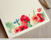 """Handmade Notepad Colorful Watercolor Poppies Cornflower  5.5"""" x 8.5"""" To Do List Pad  heavy Card Stock 25 pages"""