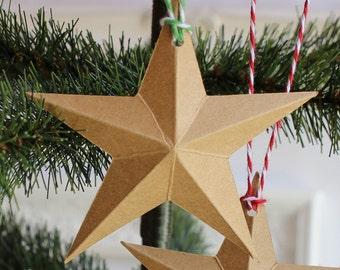 Dimensional Paper Star Christmas Ornaments Kraft Card Stock Bakers Twine Set of Ten