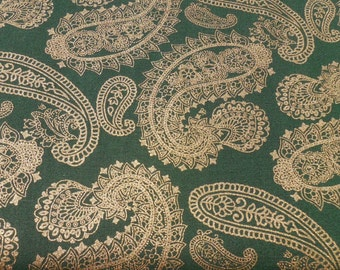 CLEARANCE Cotton Fabric, Christmas Paisley Fabric, Poinsettia Glamour by AE Nathan Co, Sold by the Yard