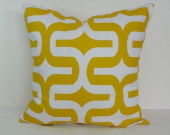 Yellow Decorative Pillow Cover, Geometric Throw Pillow Cushion Cover, 18 x 18, 16 x 16