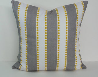 Yellow and Gray Striped Lulu Decorative Pillow Cover, Throw Cushion Cover, 18 x 18