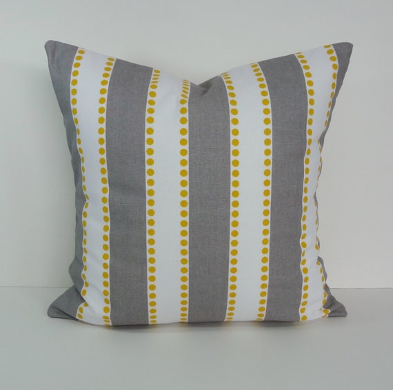 Yellow and Gray Striped Lulu Decorative Pillow Cover Throw