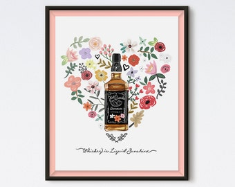 Whiskey Is Liquid Sunshine - Kitchen Print - Kitchen Art - Bar Art - Bar Print - Alcohol Art - Jack Daniels Art - Floral Print - Whiskey Art