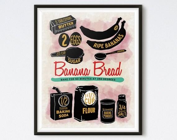 Illustrated Recipe - Banana Bread - Kitchen Print - Recipe Art - Kitchen Art - Food Art - Food Illustration - Recipe Illustration