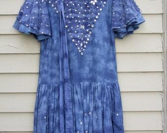 Vintage Blue Tye Dye and hand embellished jewels on dress ala 1980s