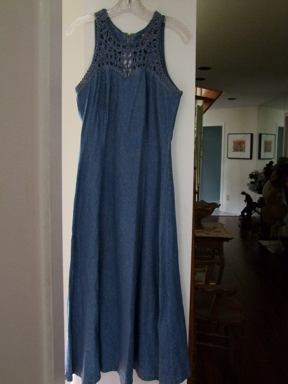 Vintage 1960s Denim flare dress w woven top