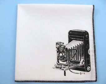 Hankie- VINTAGE CAMERA shown on super soft white cotton hanky-or choose from any solid color or plaids shown in pics