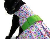 Cat Dress - Cat Clothes - Polka Dot Cat Dress - Easter Cat Dress - Cat Harness Dress - Birthday Cat Dress - Clothes for Cats