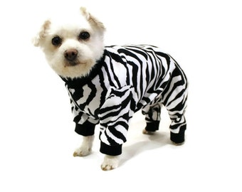 Zebra Dog Pajamas-Black and White Dog Pajamas-Dog Clothes - Dog Clothing - Dog Onesie - Pajamas for Dogs - Clothes for Dogs - Dog - Dogs