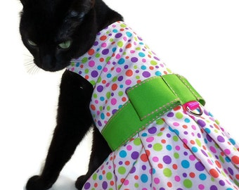 Cat Dress - Cat Clothes - Polka Dot Cat Dress - Easter Cat Dress - Cat Harness Dress - Birthday Cat Dress - Clothes for Cats
