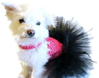 Hot Pink and Black Dog Tutu-Hot Pink and Black Dog Dress-Dog Dresses-Dog Clothing-Dog Costume-Tutus for Dogs-Hot Pink Dog Tutu-Dress for Dog