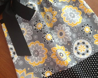 Pillowcase Dress, A-line Dress, Jumper -  Black and Yellow Floral - Size 12M - READY TO SHIP