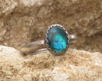 Sterling silver paua ladies / womens ring