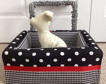 Dog Car Seat SMALL ***Ready Made black/white polka dot and Houndstooth*** by FancyFido