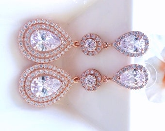 Bridal Earrings 3 Drops Large Halo Clear White Long Peardrop Round Cubic Zirconia Drops with Large Rose Gold Plated CZ Peardrop Post Earring