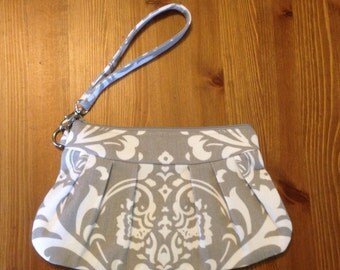 Grey and White Damask Pleated Canvas Clutch/Wristlet with Removable Wrist Strap