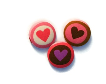 Fridge Magnets - Set of 3, Love Heart Fabric Fridge Magents - Pink Brown Purple - Fabric Button Magnet