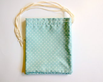 Blue Spot Small Fabric Gift Bags, Fully lined with a Satin Drawstring - Fabric Party Bags, Drawstring Bags, Storage Bags 5 inches x 6 inches