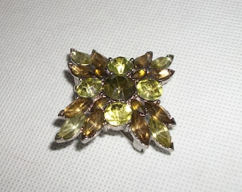 Vintage Olive and Peridot Rhinestone Brooch Pin