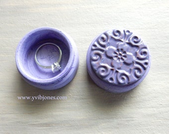 Purple Mandala Ring Pill Box Wedding Romantic Anniversary Valentines Day Gift Small Hand Crafted Rustic Lavender Keepsake Jewelry Box
