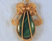 Malachite Angel Wire Wrapped Cage Pendant