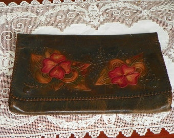Antique Deco Art Nouveau Leather PURSE WALLET iPad holder Clutch Hand Tooled orange floral