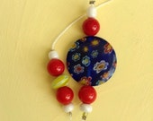 Red yellow and blue beaded bookmark