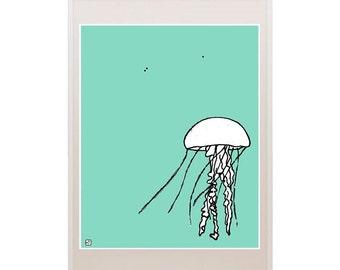 Marine Ocean Theme Jellyfish Art Illustration Drawing Nursery Art Kids Print Cartoon Pantone Modern Contemporary Hipster Kid Decor