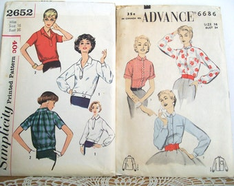 Two 1950's Ladies BLOUSE PATTERNS Advance #6686 Simplicity #2652 Size 16 Vintage - Ships free in US