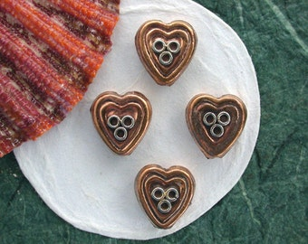 Copper Beads, Copper and Sterling Beads, Metal Beads, Bali Beads, Mixed Metal Beads, Heart Beads MB-069