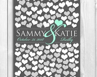 Large Big Wedding Guestbook Poster | BRIDAL GIFT POSTER | Interactive Art Print | 122 Guest Sign In 18x24 | Unique Wedding Guest Book_01