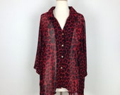 Vintage 90's sheer red leopard print tunic blouse shirt womens